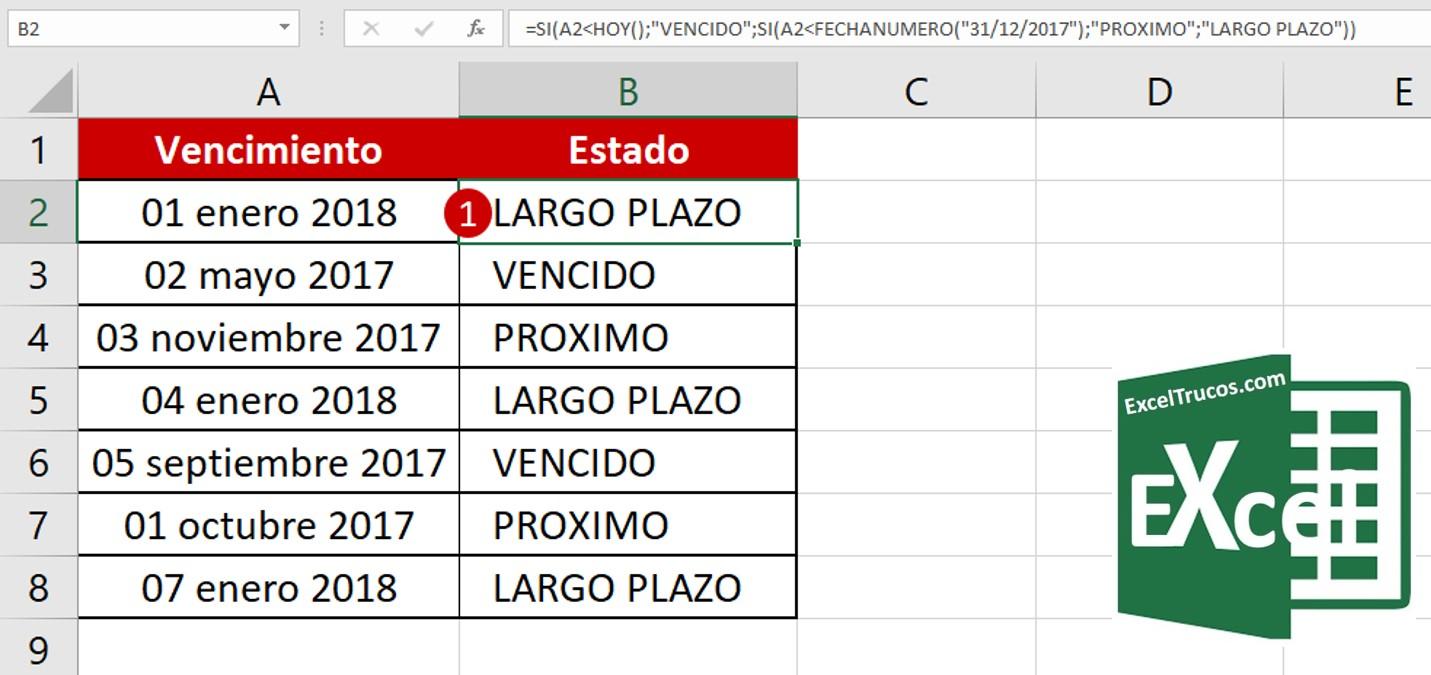 Control de Vencimientos con la función SI y FECHANUMERO – Excel Trucos