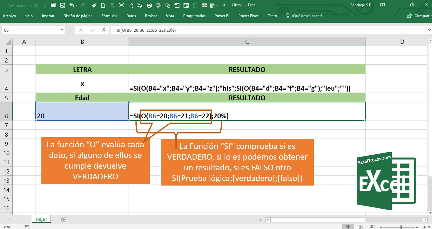 Pruebla lógica Excel SI O excel funcion