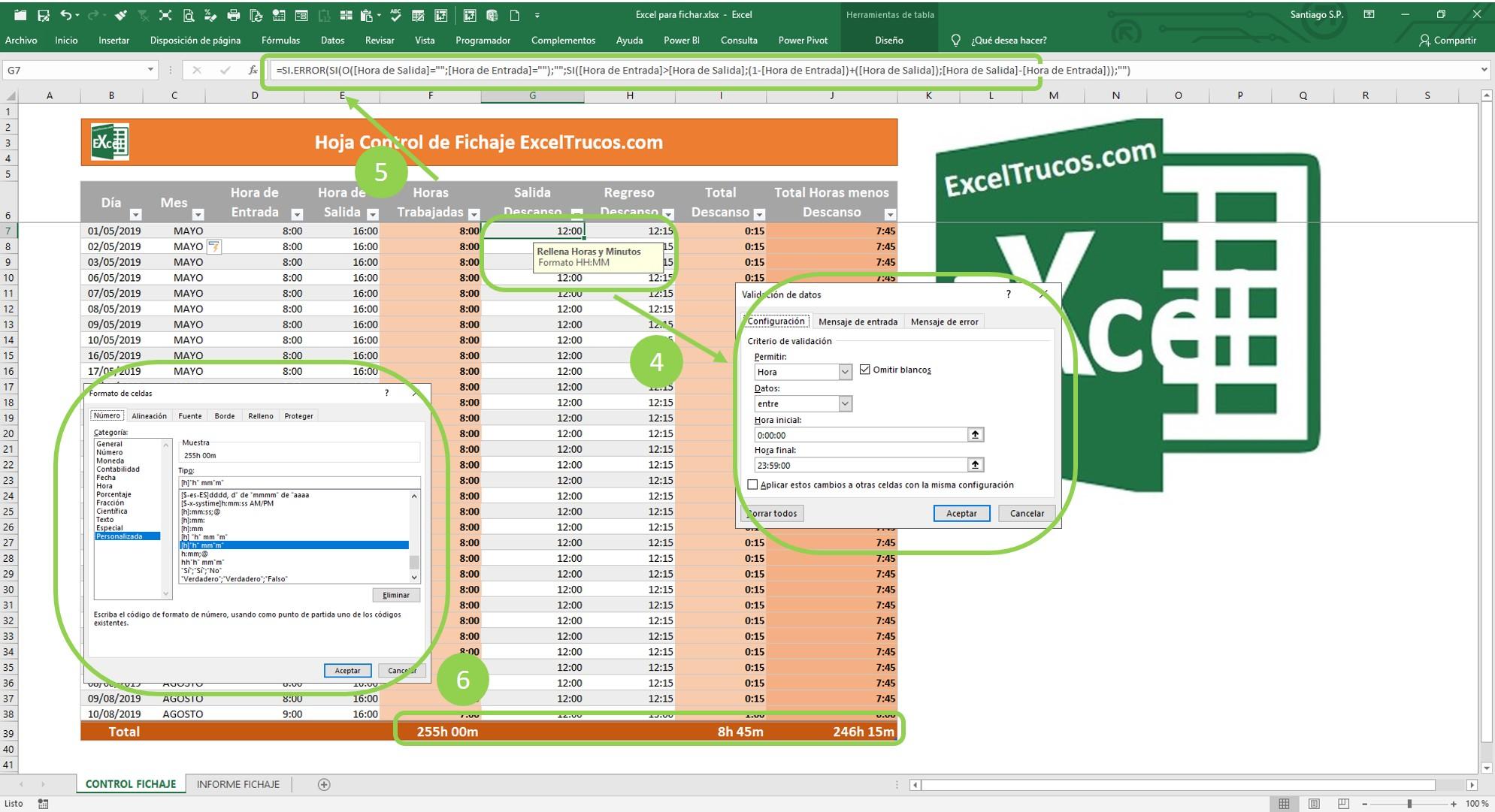 Excel para fichar horarios